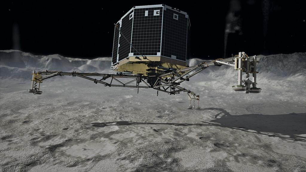 AstroNova le blog de l'astronomie et de l'espace - Le robot Philae lors de son atterissage ©ESA