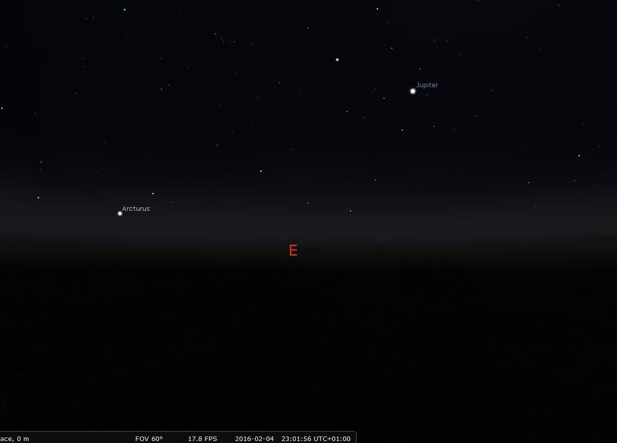 Observer Jupiter à l'oeil nu : position de la planète