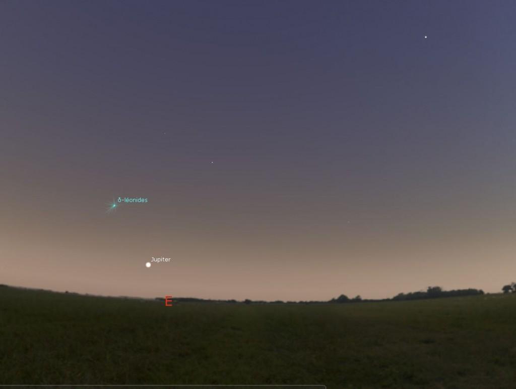 Position de lever de Jupiter à son lever, le 08/03/2016