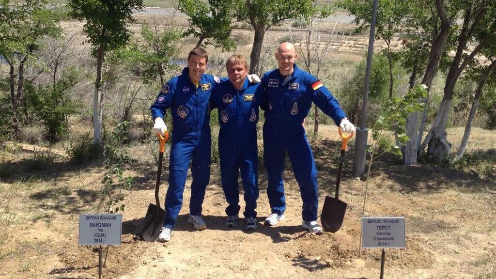Expédition 40-41 qui plante un arbre @ESA