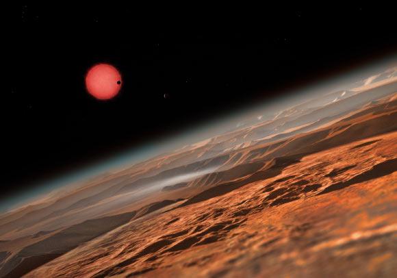 Vue d'artiste des exoplanètes du système Trappist-1 © ESO