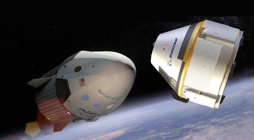 Crew Dragon de SpaceX à gauche. CST-100 Starliner de Boeing sur la droite. © SpaceX