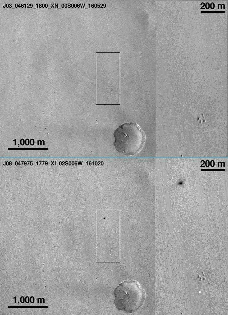 Le site d'atterissage, avant et après le crash © NASA / JPL