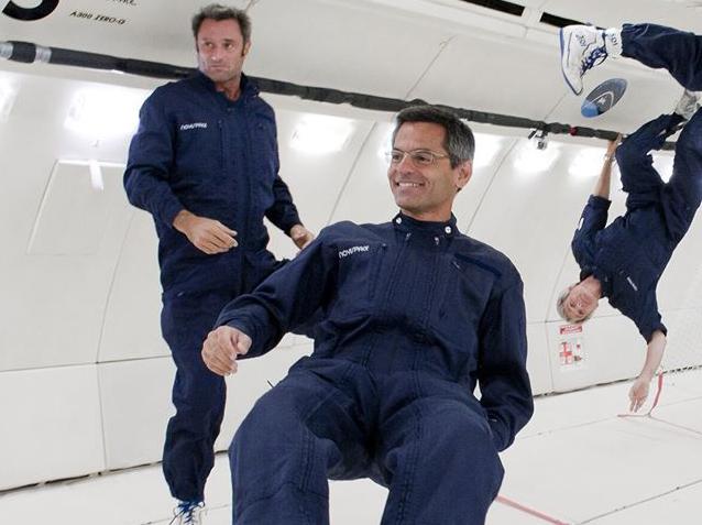 Thierry Gharib lors d'un vol parabolique © Novespace