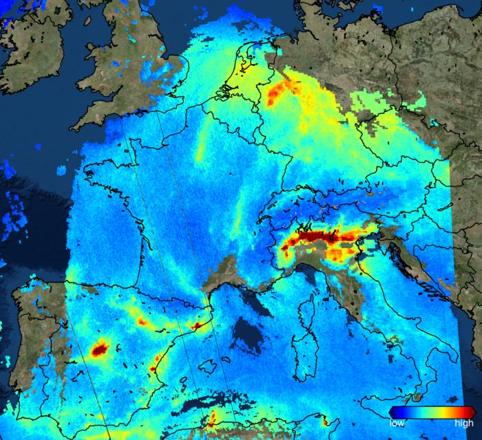 Sentinel 5P relève les taux de dioxyde d'azote en Europe © ESA