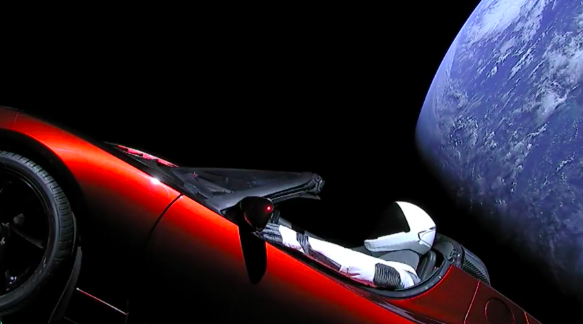 Une Tesla rouge dans l'espace, tout simplement © SpaceX