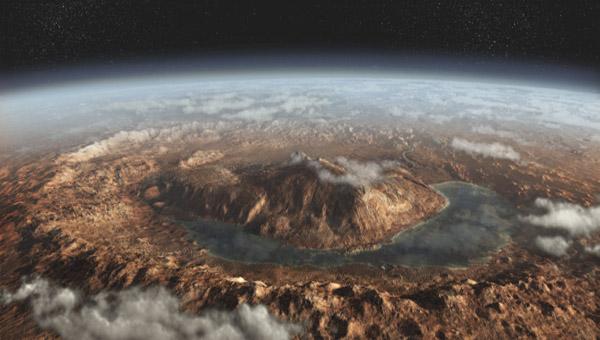 Vue d'artiste du cratère de Gale © DailyGalaxy